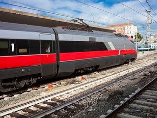 Beautiful photo of high speed modern commuter train